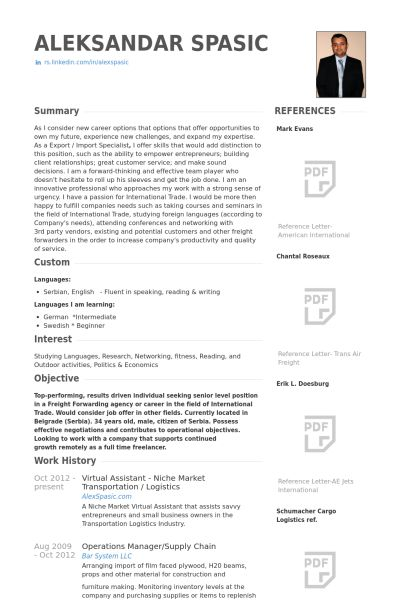 virtual assistant resume
