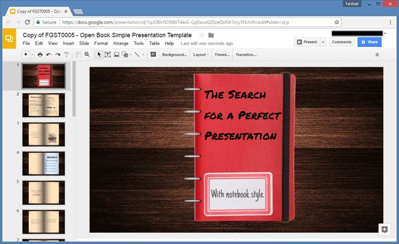 Open Book Google Slides Template