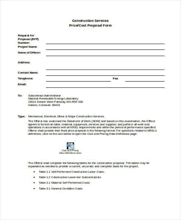 9+ Construction Proposal Form Samples - Free Sample, Example ...