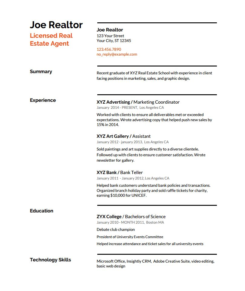 Real Estate Resume Writing Guide with Template