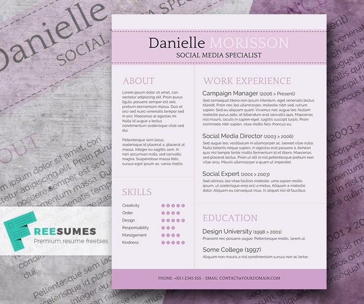 Pretty Resume Templates. The Free Photoshop Cv Template 11 ...