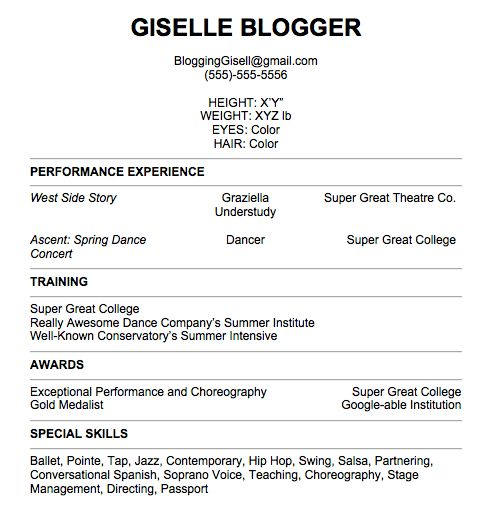 dancer resume