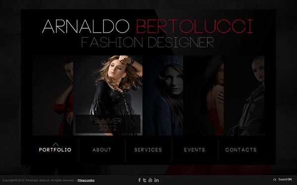 Arnaldo Bertolucci Fashion Designer HTML5 Template on Behance