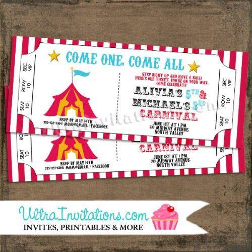 Circus Carnival Ticket Invitations, Printable Design or Printed ...