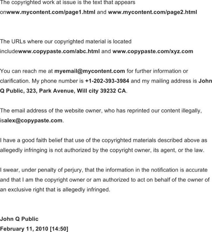 Copyright Notice Template. Dmca Notice In Dropbox Terms Of Service ...