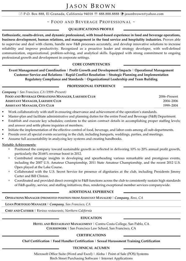 Food Services Resume Examples - Resume Professional Writers