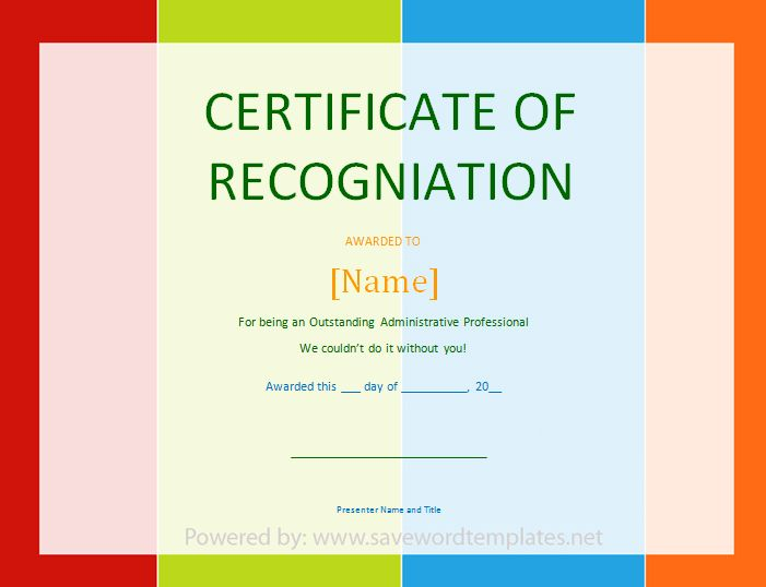 Certificate of Recognition - Save Word Templates