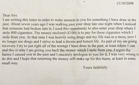 Remorseful thief sends letter of apology and £100 to the shop he ...