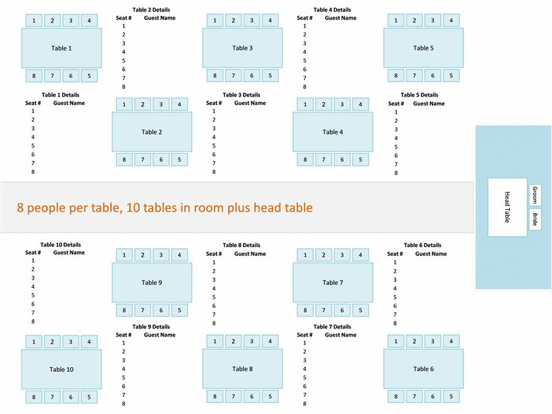 Wedding reception seating chart (round or rectangular tables ...