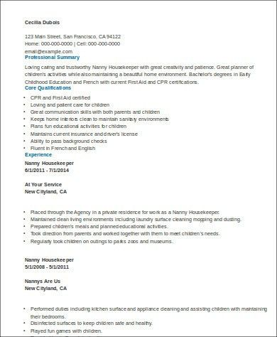 Sample Housekeeper Resume - 8+ Examples in Word, PDF