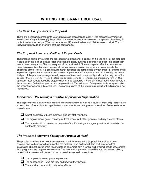 Writing the Grant Proposal - Template & Sample Form | Biztree.com