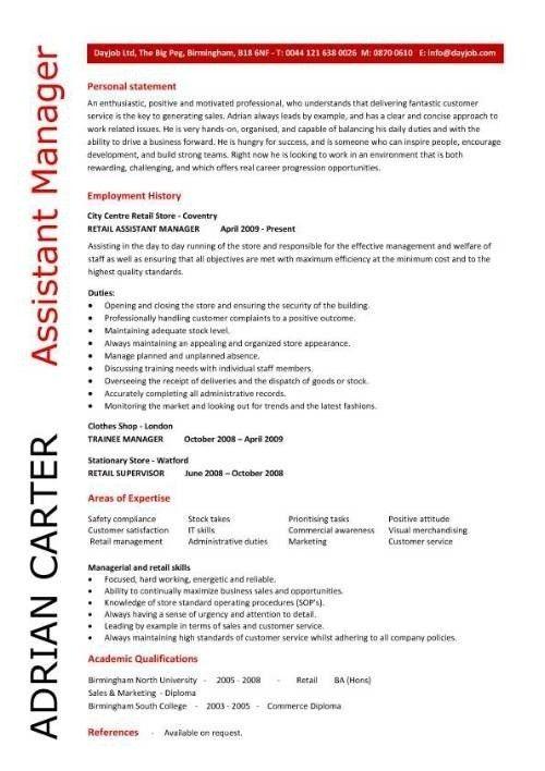 Assistant Manager Resume, Retail, Jobs, Cv, Job Description inside ...