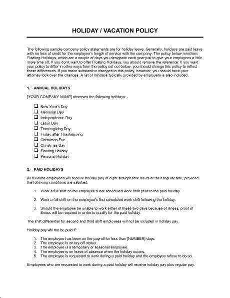 Time Off Policy - Template & Sample Form   Biztree.com