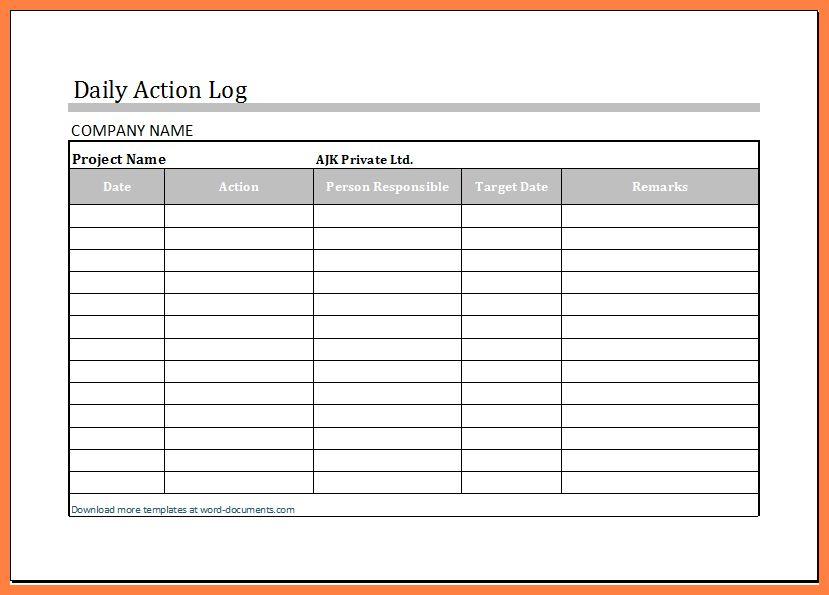 daily work log sheet