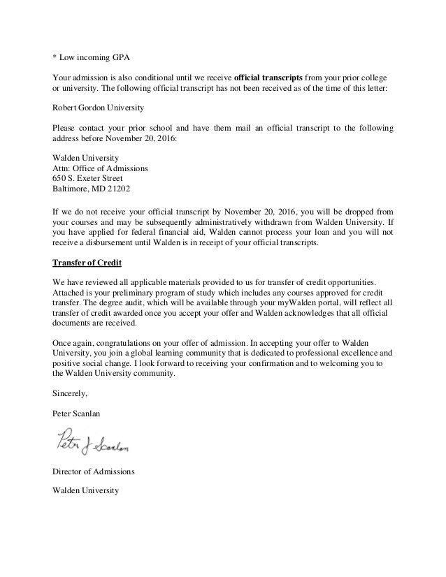 Walden University Acceptance 2016