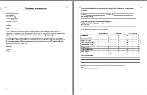 Reference Check By Letter Template