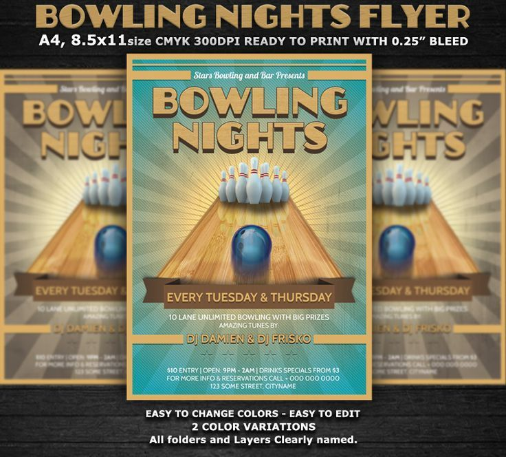 14 best Bowling images on Pinterest | Bowling, Flyers and Print ...