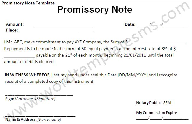 Best Photos of Simply Worded Promissory Note Template - Sample ...
