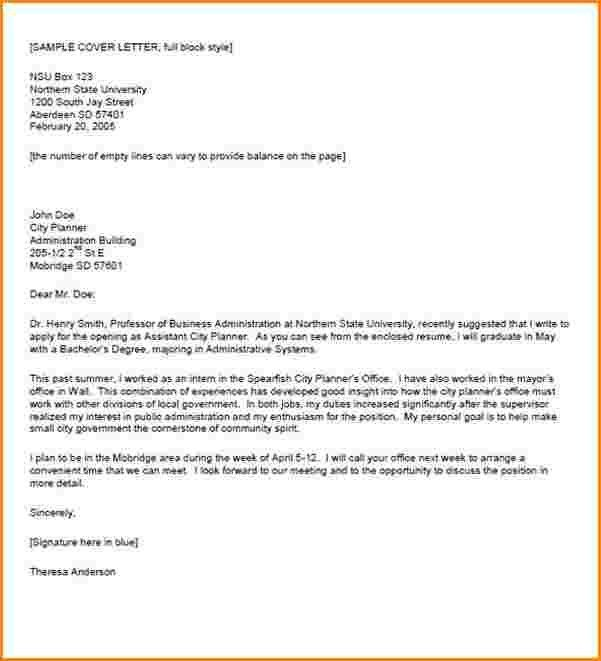 block style cover letters