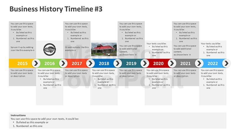 Business History Timeline - Editable PowerPoint Template