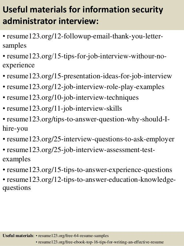 Top 8 information security administrator resume samples