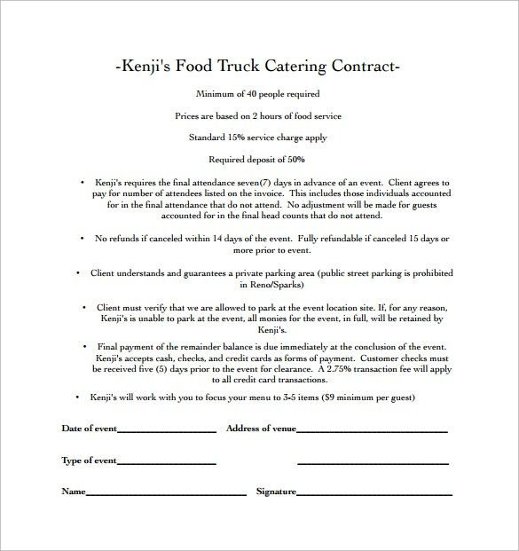 Catering Contract Template. It Services Contract Agreement ...