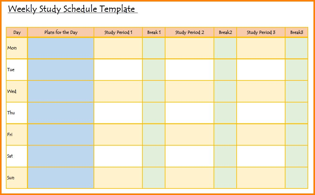 8+ study schedule template | memo templates