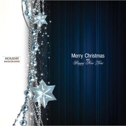 Free vector blue garland with star merry christmas poster template ...