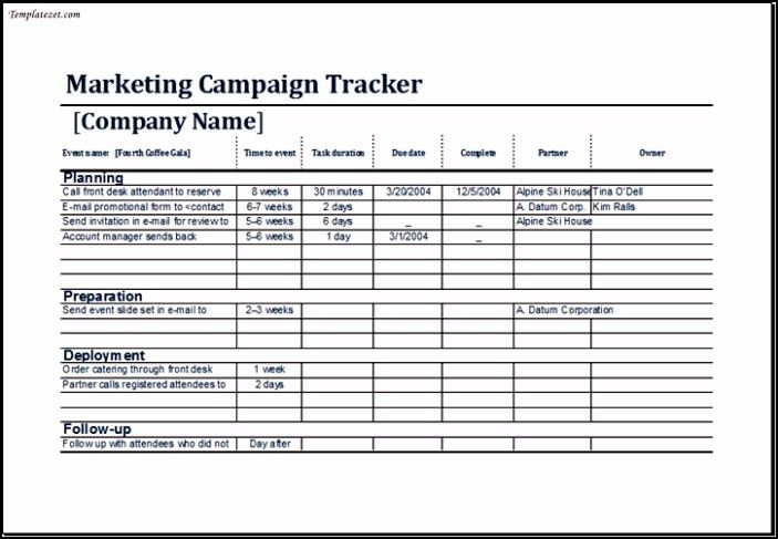 Sample Marketing Campaign Tracker Template Excel | TemplateZet