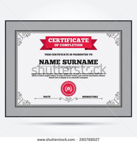 Certificate Completion Second Place Award Sign Stock Vector ...