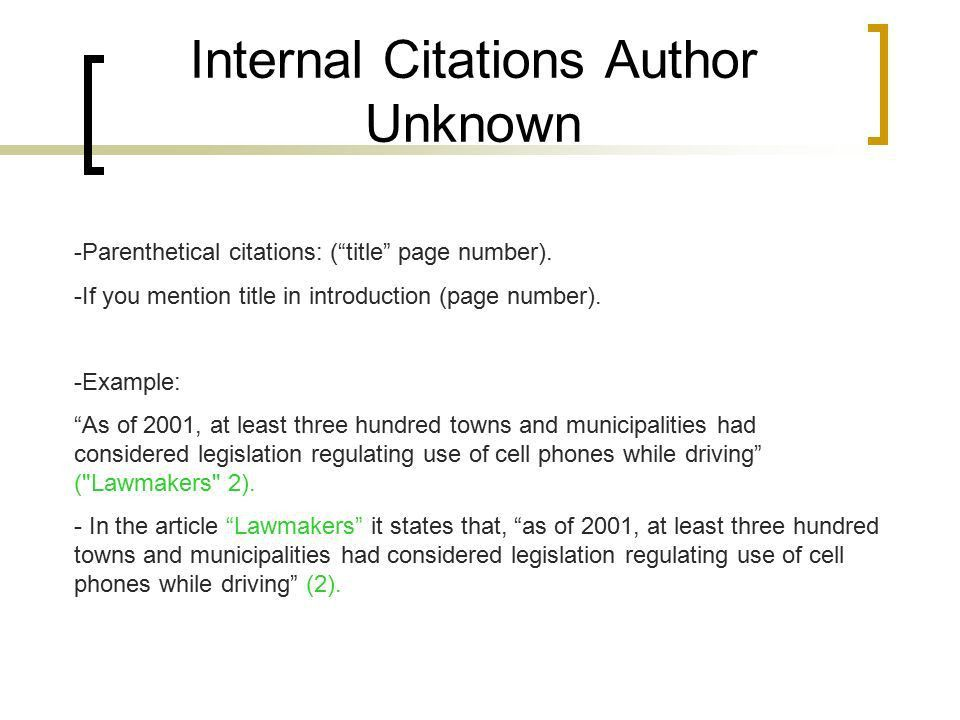 MLA In-Text citations. Information you need -Author -Title -Page ...