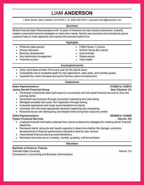 sales representative resume | bio letter format