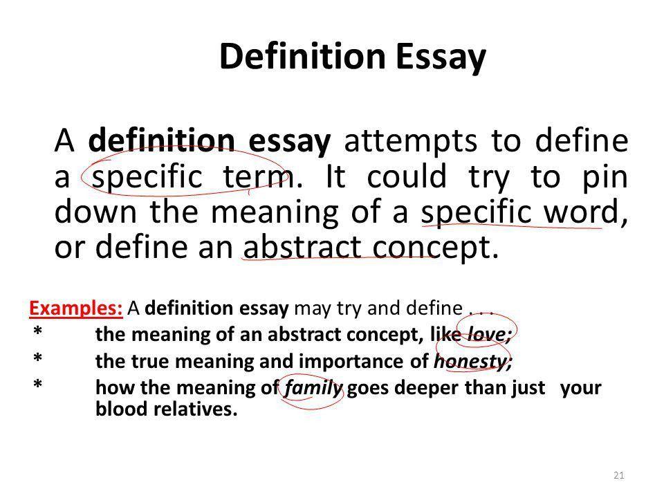 definition essay format