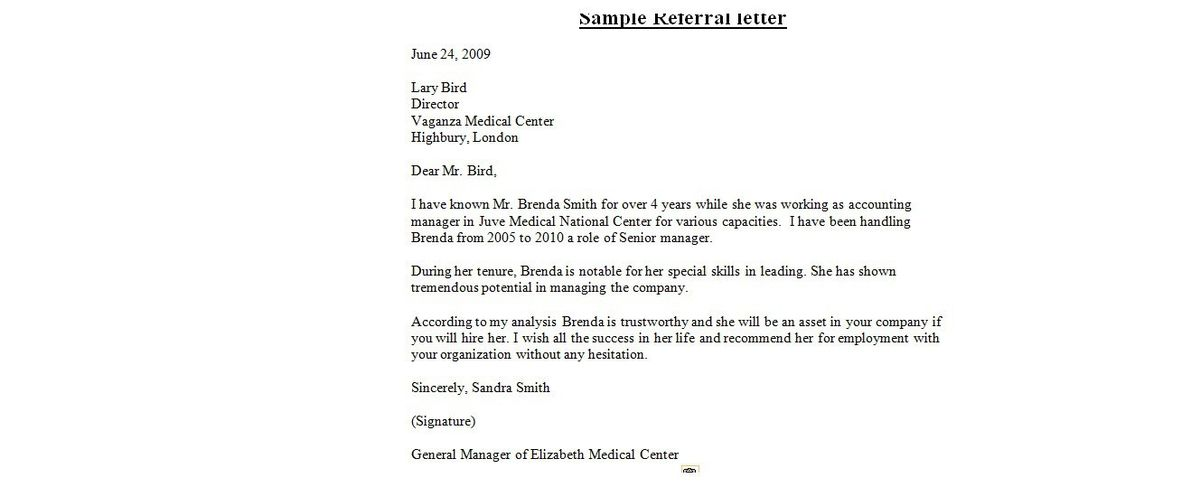 sample cover letter with referral