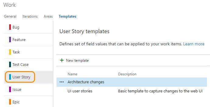 Work item templates | Microsoft Docs