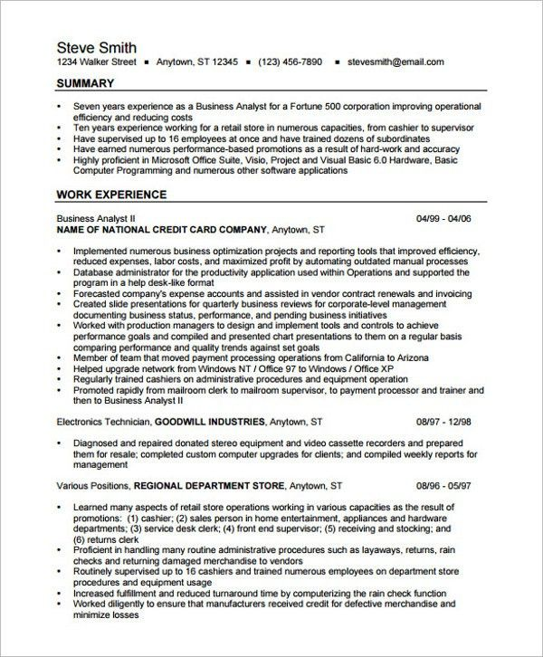 Best Business Resume - 30+ Free Word, PDF Document Download | Free ...