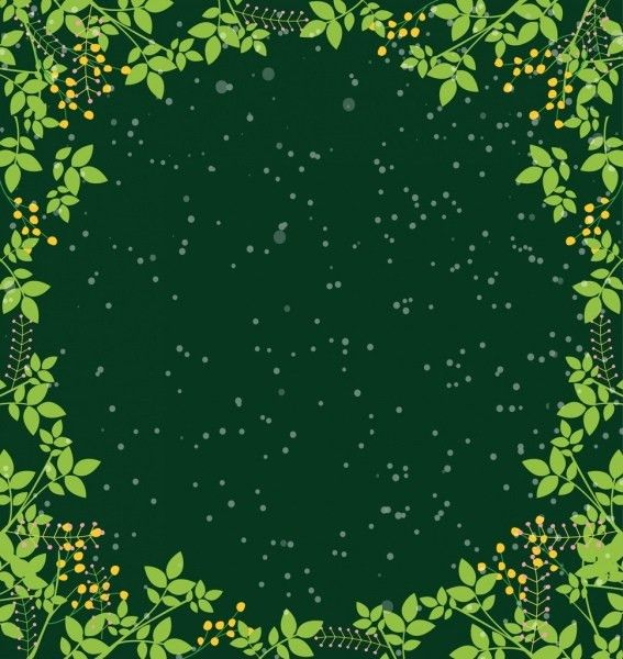 Border template green leaves decoration sparkling space backdrop ...