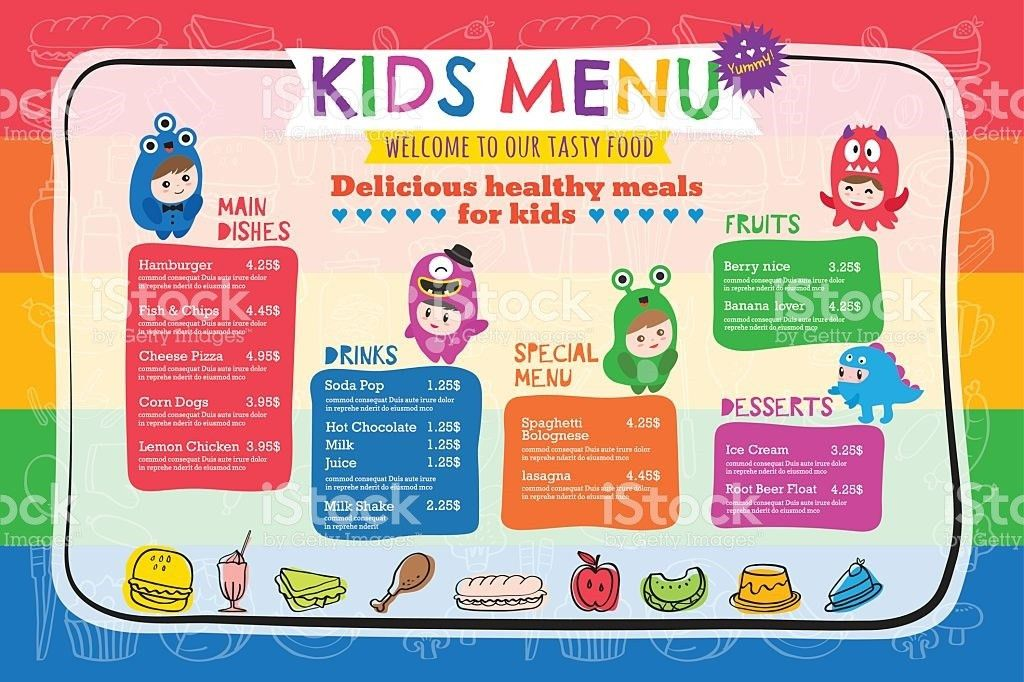 Cute Colorful Kids Meal Menu Template stock vector art 635944352 ...