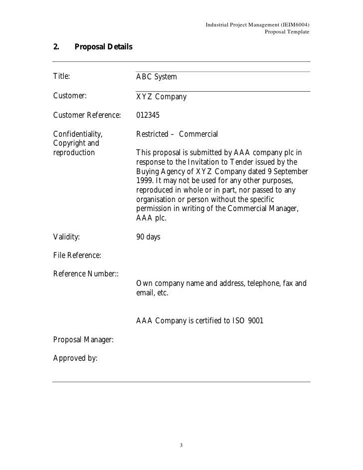 Project Management Proposal Template Free Construction Proposal – Project Proposal Template Word