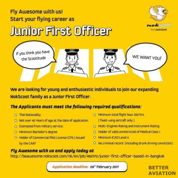 NokScoot Junior First Officer - Better Aviation