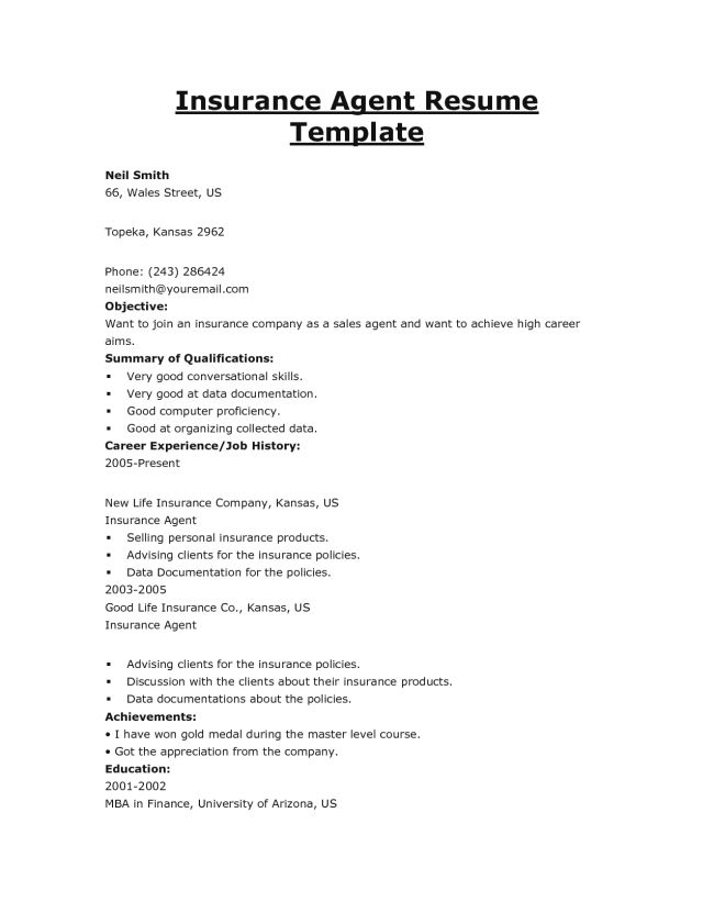 Free Insurance Agent Job Resume Sample and Objective : Vinodomia