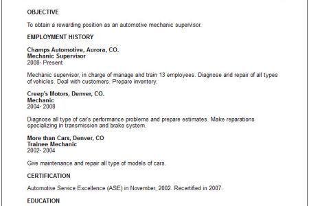 mechanic resume sample