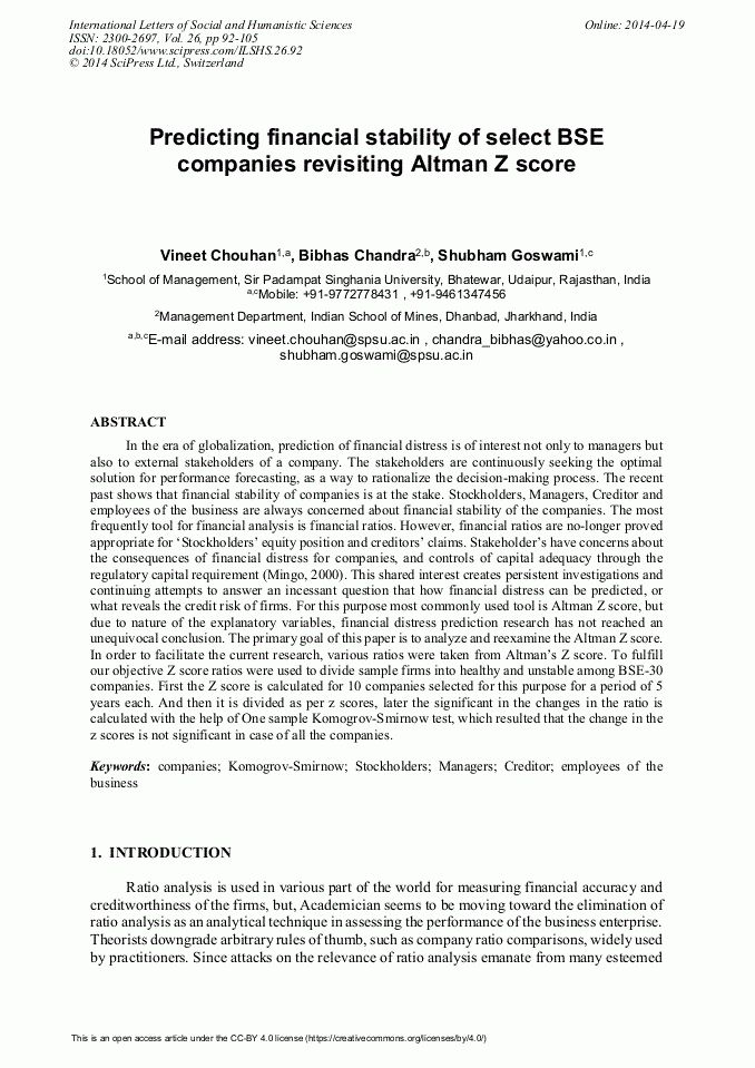Predicting Financial Stability of Select BSE Companies Revisiting ...