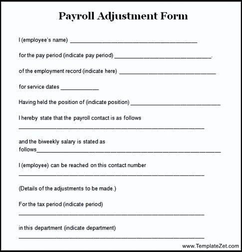Sample Payroll Adjustment Form | TemplateZet