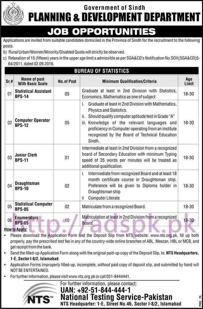 NTS New Career Excellent Jobs Bureau of Statistics Planning ...