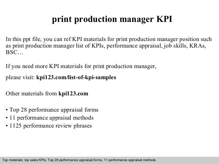 Production Manager Sample Resume Manager Resume Example – Production Director Job Description