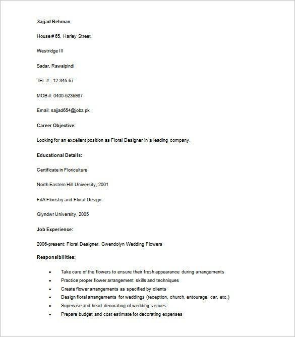 Designer Resume Template U2013 9+ Free Word, Excel, PDF Format .  Floral Designer Resume