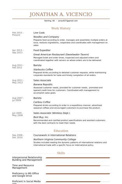 sample line cook resume