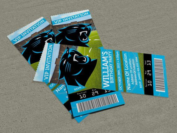 "Carolina Panthers Birthday Party/Event Ticket Invitation (2.5"" x 7 ..."