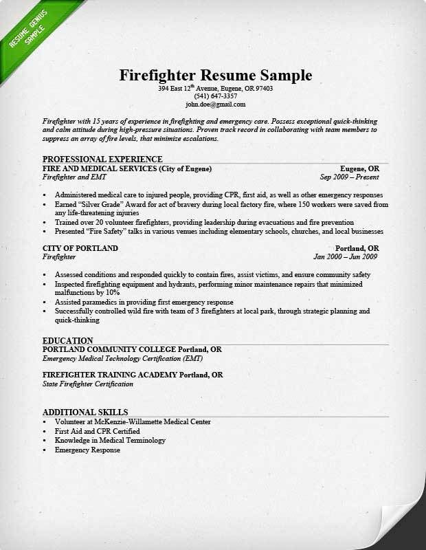 Firefighter Resume Sample & Writing Guide | Resume Genius